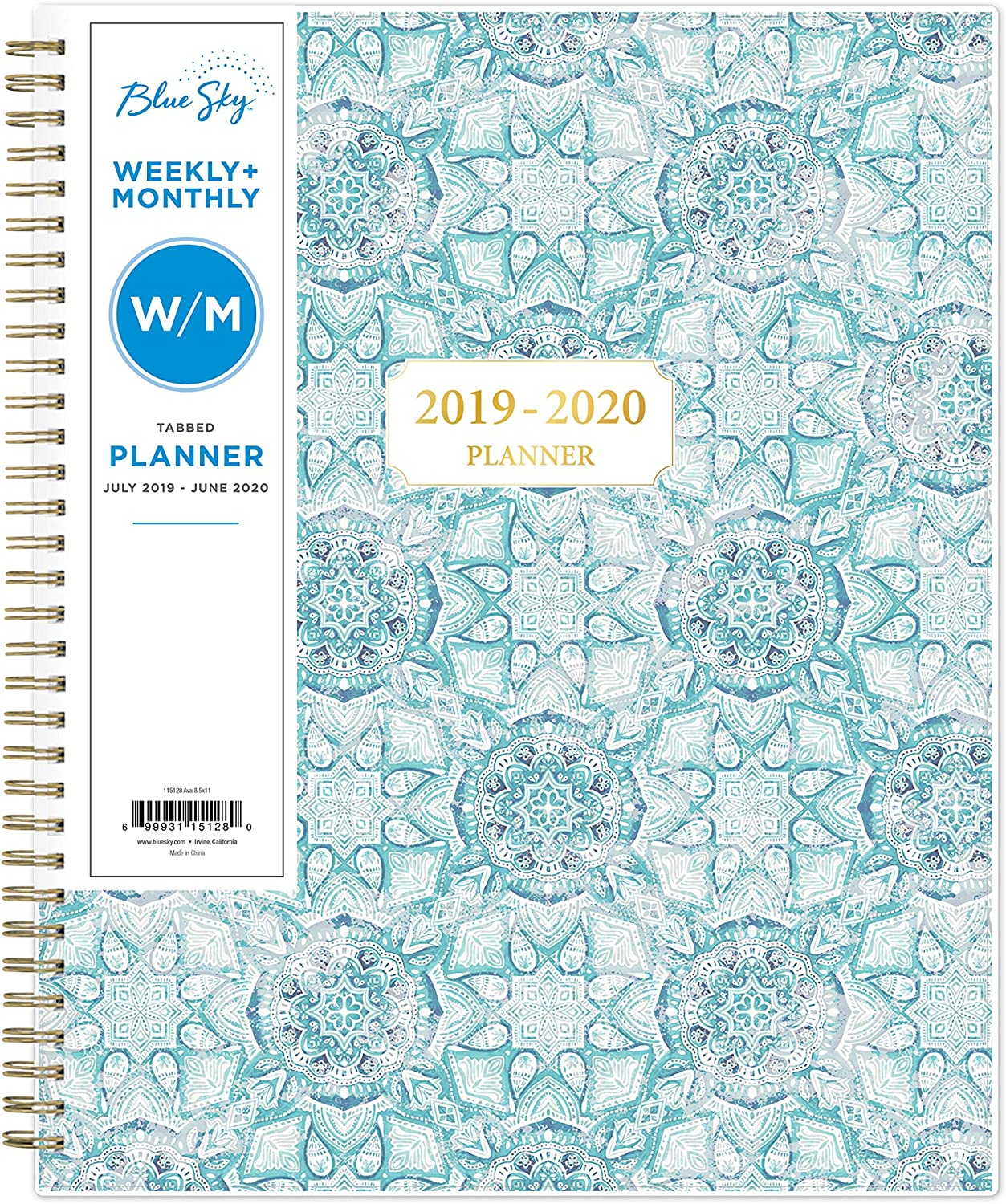 "Blue Sky 2019-2020 Academic Year Weekly & Monthly Planner, Flexible Cover, Twin-Wire Binding, 8.5"" x 11"", Ava"