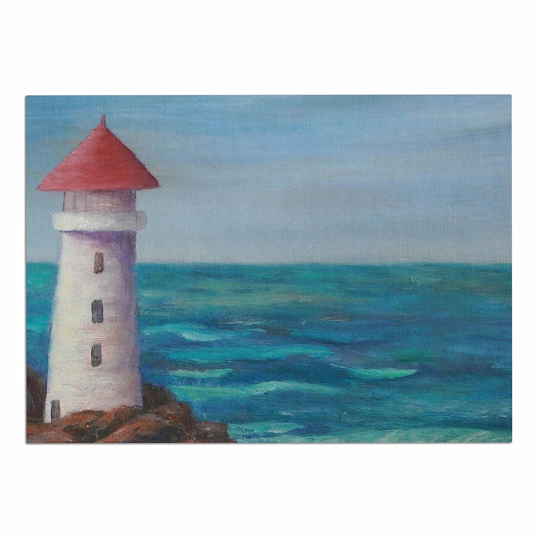 KESS InHouse CS2026ADM02 Cyndi Steen The Lighthouse Rocks bluee Painting Dog Place Mat, 24  x 15
