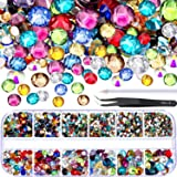 TecUnite 2000 Pieces Flat Back Gems Round Crystal Rhinestones 6 Sizes (1.5-6 mm) with Pick Up Tweezer and Rhinestones Picking Pen for Crafts Nail Face Art Clothes Shoes Bags DIY (Multicolors)