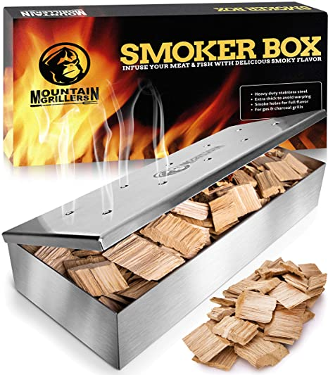 Smoker Box for Wood Chips - Use a Gas or Charcoal BBQ Grill and Still Get  That Delicious Smoky Barbecue Flavored Grilled Meat - Brushed Finish