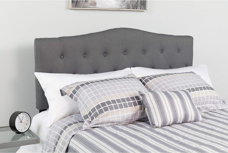 Flash Furniture Cambridge Tufted Upholstered Full Size Headboard in Dark Gray Fabric
