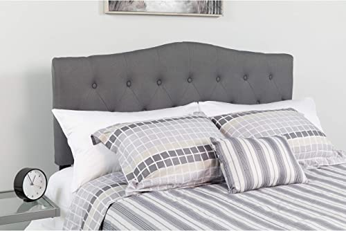 Flash Furniture Cambridge Tufted Upholstered King Size Headboard in Dark Gray Fabric