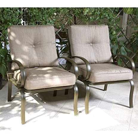 Cloud Mountain Set Of 2 Club Chairs Outdoor Patio Wrought Iron Dining Chairs  Garden Furniture Seating