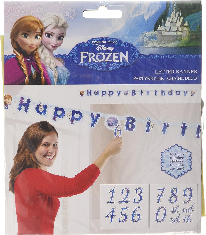 Taille Unique Guirlande articul/ée Happy Birthday La Reine des neiges
