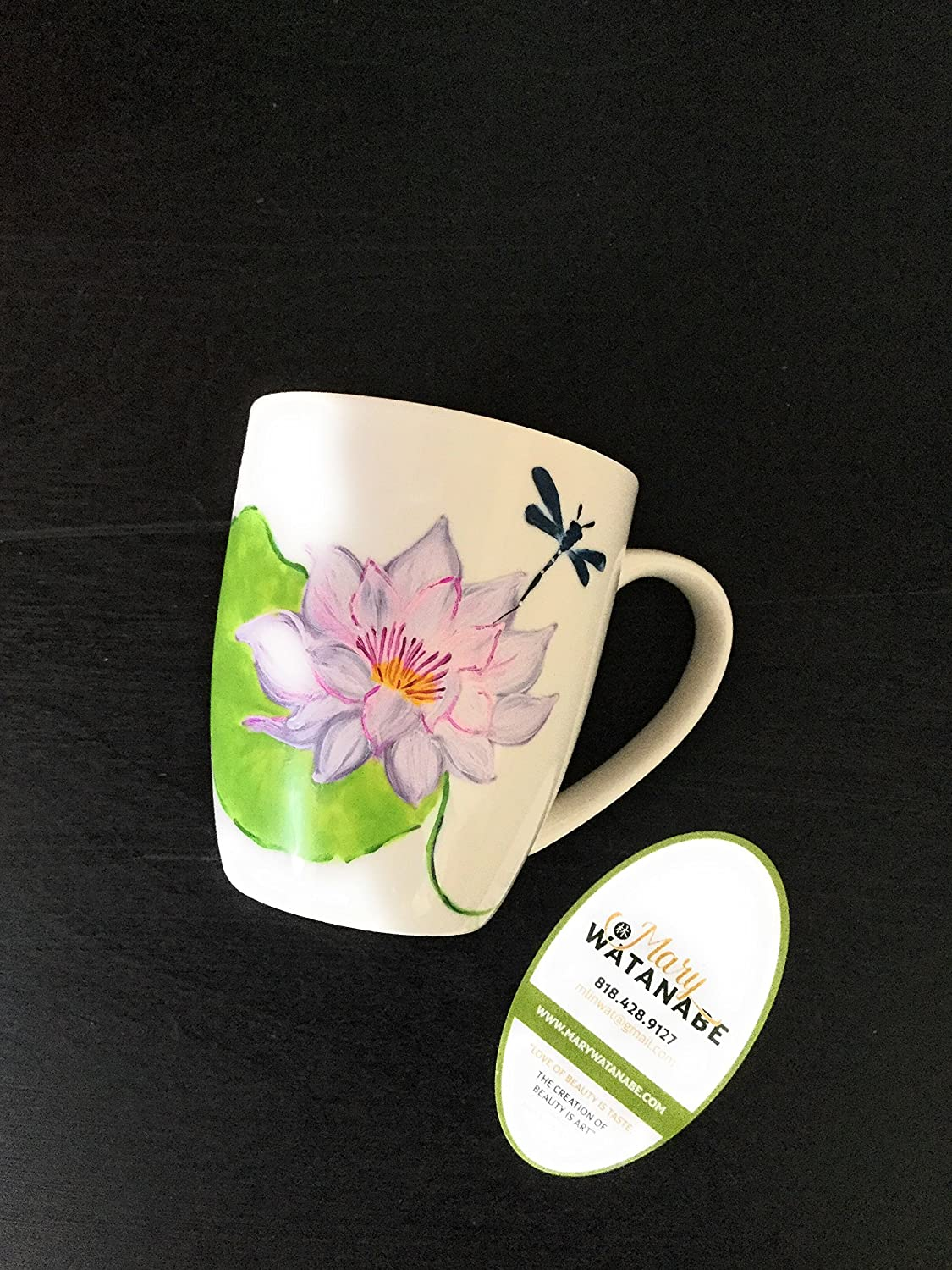 Dragonfly on Lotus Flower Coffee/Tea Cup--Hand Painted Asian Mug (Unique Gift for Birthday/Holiday/Anniversary/Father/Mother/House Warming/Best Friend)