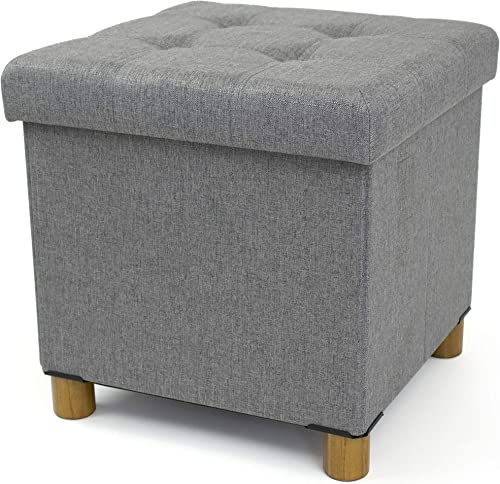Humble Crew Foot Stool Storage Ottoman, Grey