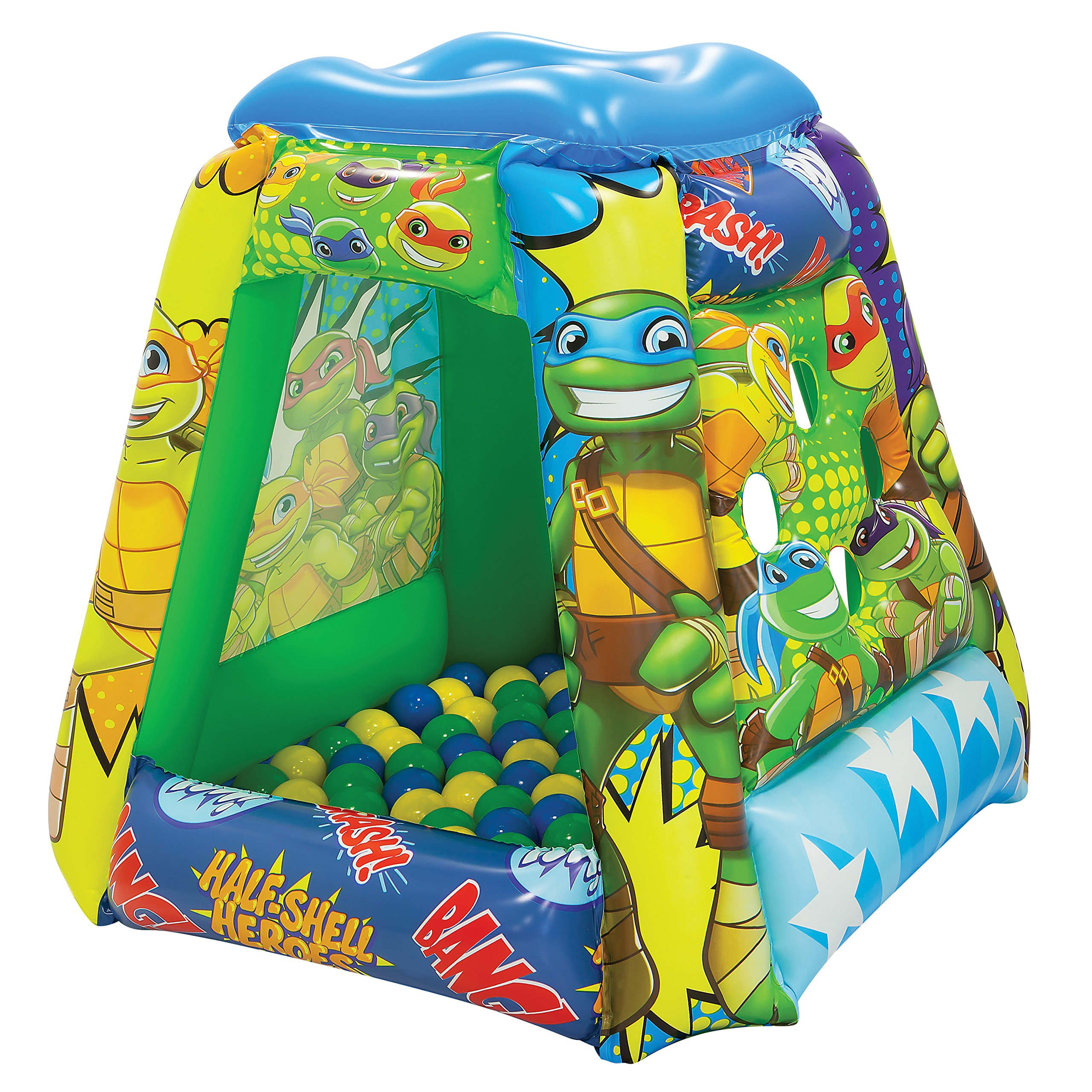 Teenage Mutant Ninja Turtles Half-Shell Heroes Ball Pit, 1 Inflatable & 20 Sof-Flex Balls, Green, 37'' W x 37'' D x 34'' H