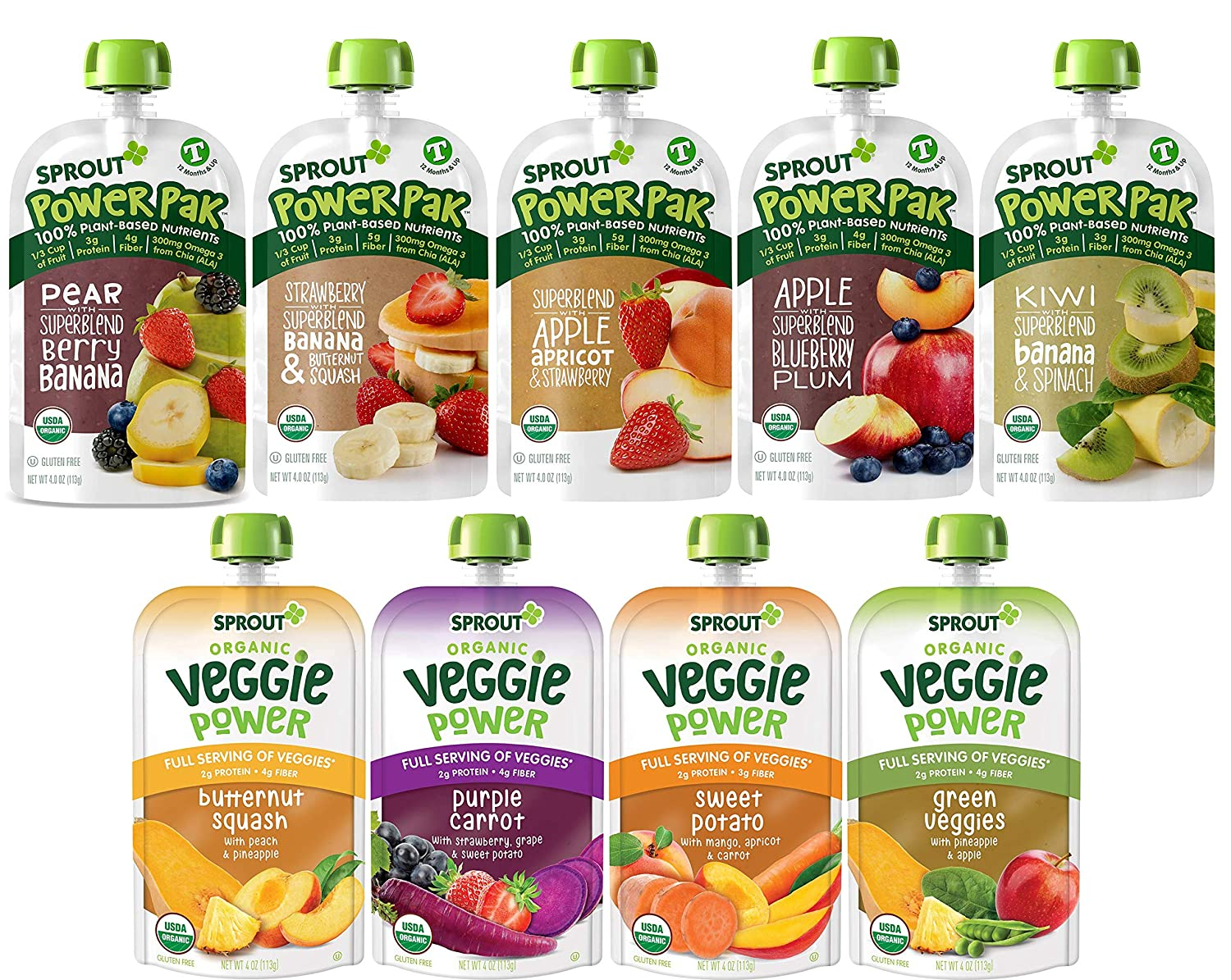 Sprout Organic Baby Food Toddler Pouches Stage 4 Toddler Puree Pouches and Smoothies, Variety Sampler, 9 Flavors, 4 Ounce Pouches (Pack Of 12)