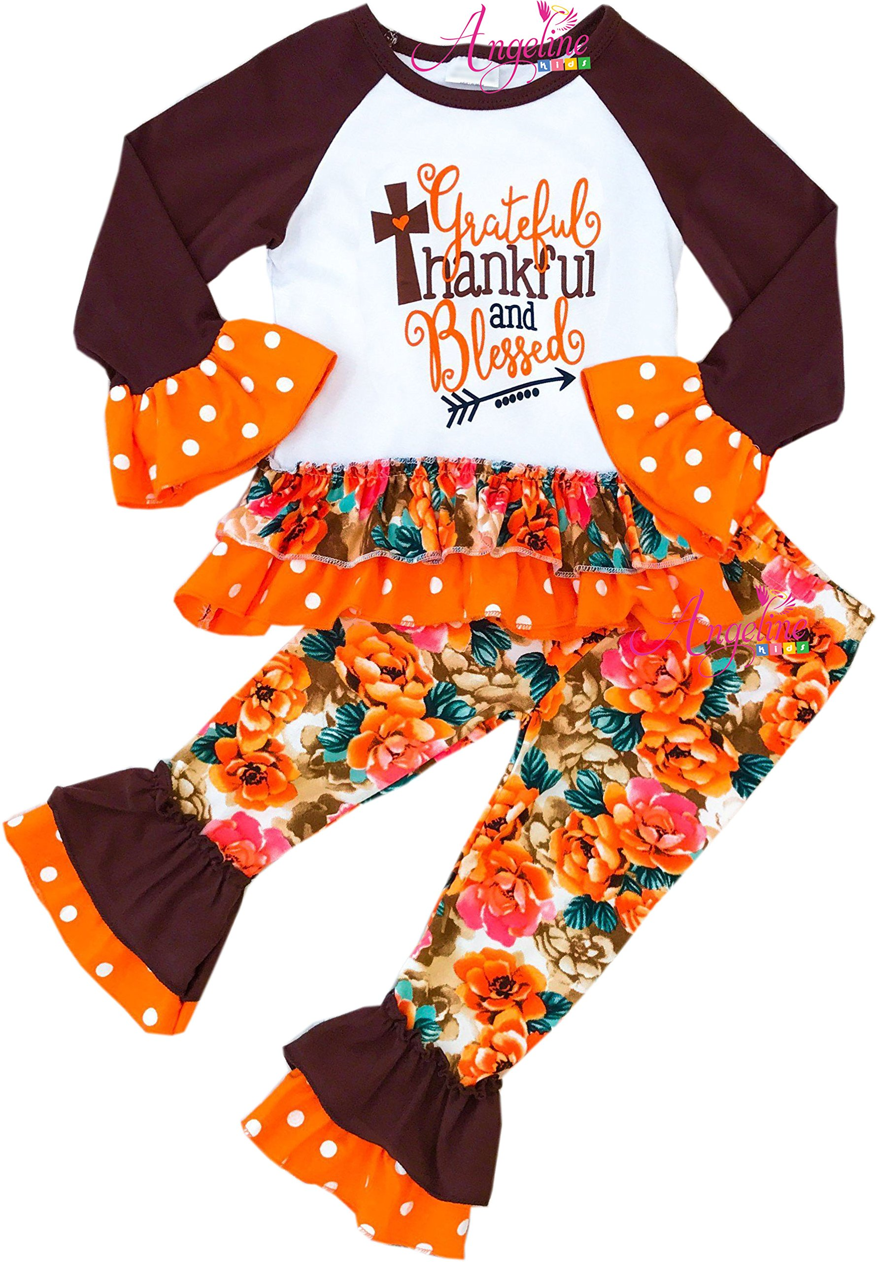 Boutique Clothing Girls Thanksgiving Thankful Grateful and Blessed Pant Set 3T/M