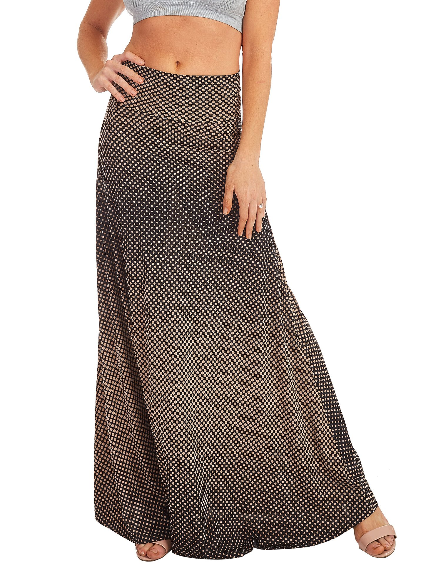 Lock and Love WB1191 Womens Chevron Print Maxi Skirt XXXL Brown_Polka