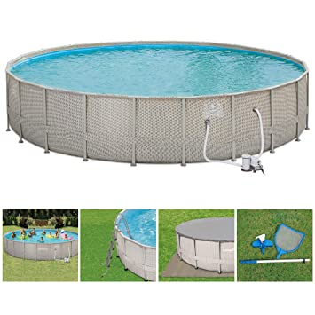 Summer Waves 22ft x 48in Elite Frame Wicker Print Above Ground Swimming  Pool Set