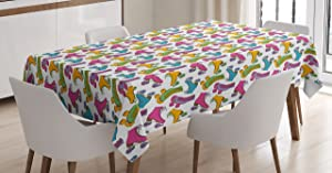 Ambesonne Teen Room Decor Tablecloth, Retro Colorful Roller Skates in Vivid Tones Girls Sports Hobby Illustration, Dining Room Kitchen Rectangular Table Cover, 60