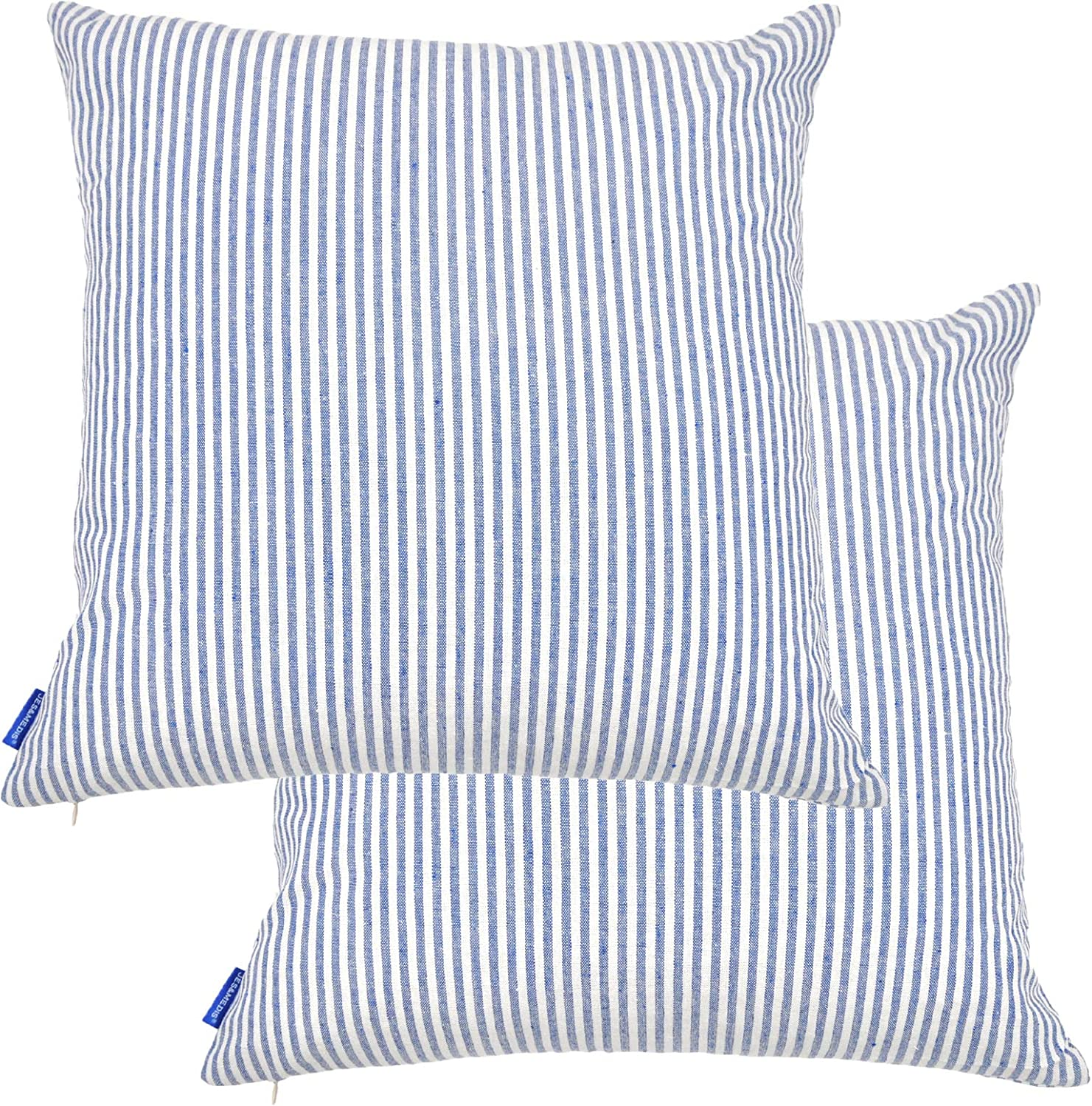 JES&MEDIS Pack of 2 Pillowcase Cotton Striped Home Decor Square Throw Pillow Covers Set for Office Bed Car Club 18 x 18 Inches 45 x 45 cm Blue and White