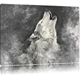 Loup Hurlant Art Format: toile 80x60auf, XXL énormes Photos complètement encadrés par la civière, l'impression de l'image Art mural avec cadre, moins cher que peintures à l'huile et de l'image, aucune affiche ou poster
