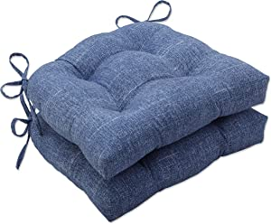 Pillow Perfect Outdoor   Indoor Tory Denim Reversible Chair Pad (Set of 2), 15.5 X 16 X 4, Blue