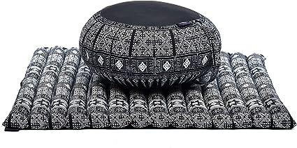 Leewadee Meditationsset Sparset Yogaset aus Meditationskissen Zafu und Sitzmatte Zabuton /Ökologisches Naturprodukt Kapok