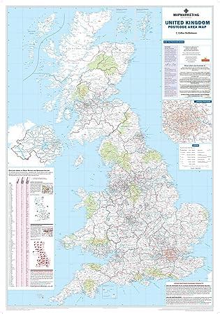 Código postal área mapa mural - papel UK: Amazon.es: Oficina y papelería