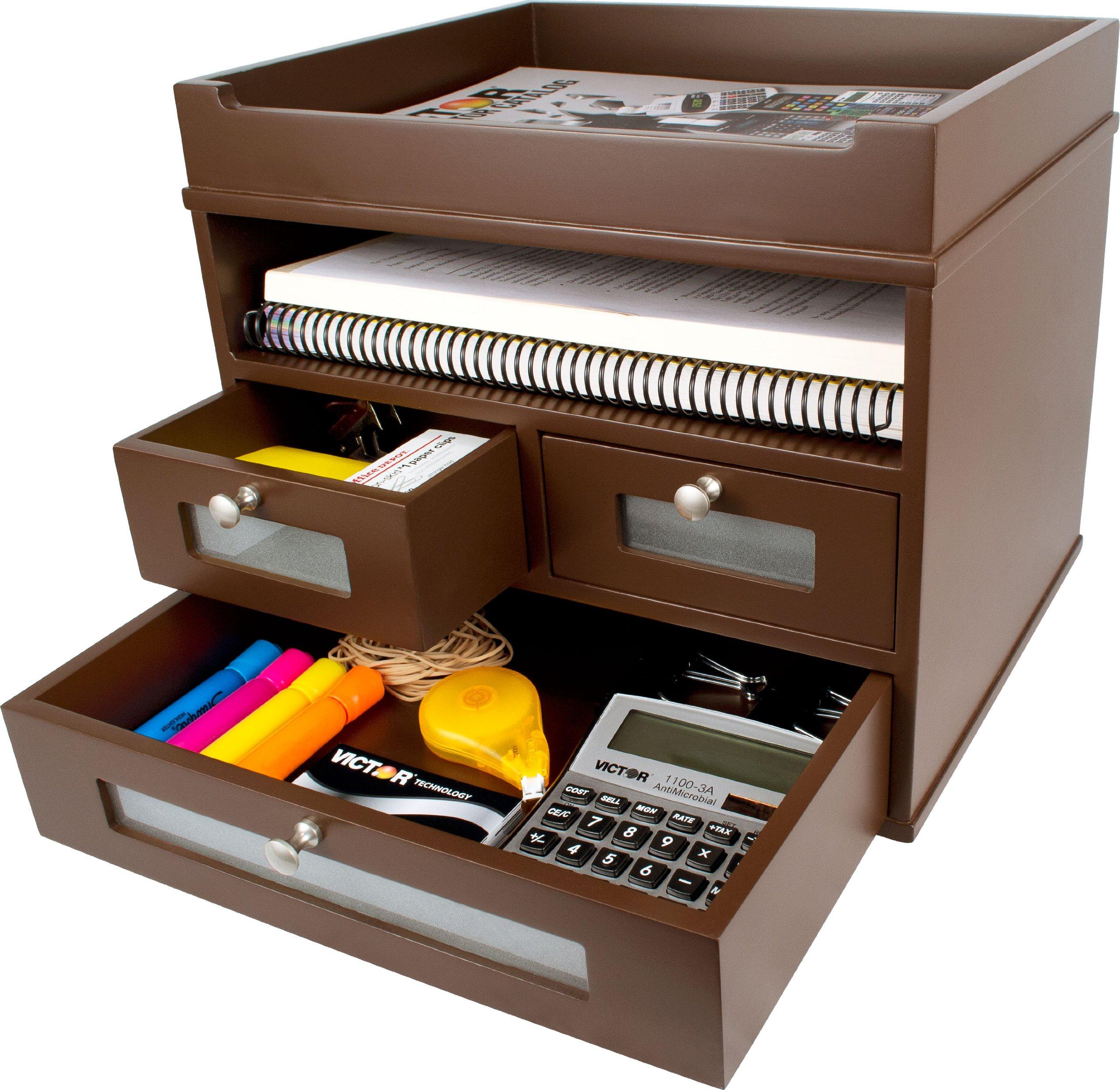 Victor Wood Tidy Tower Desktop Organizer, B5500 (Mocha Brown)