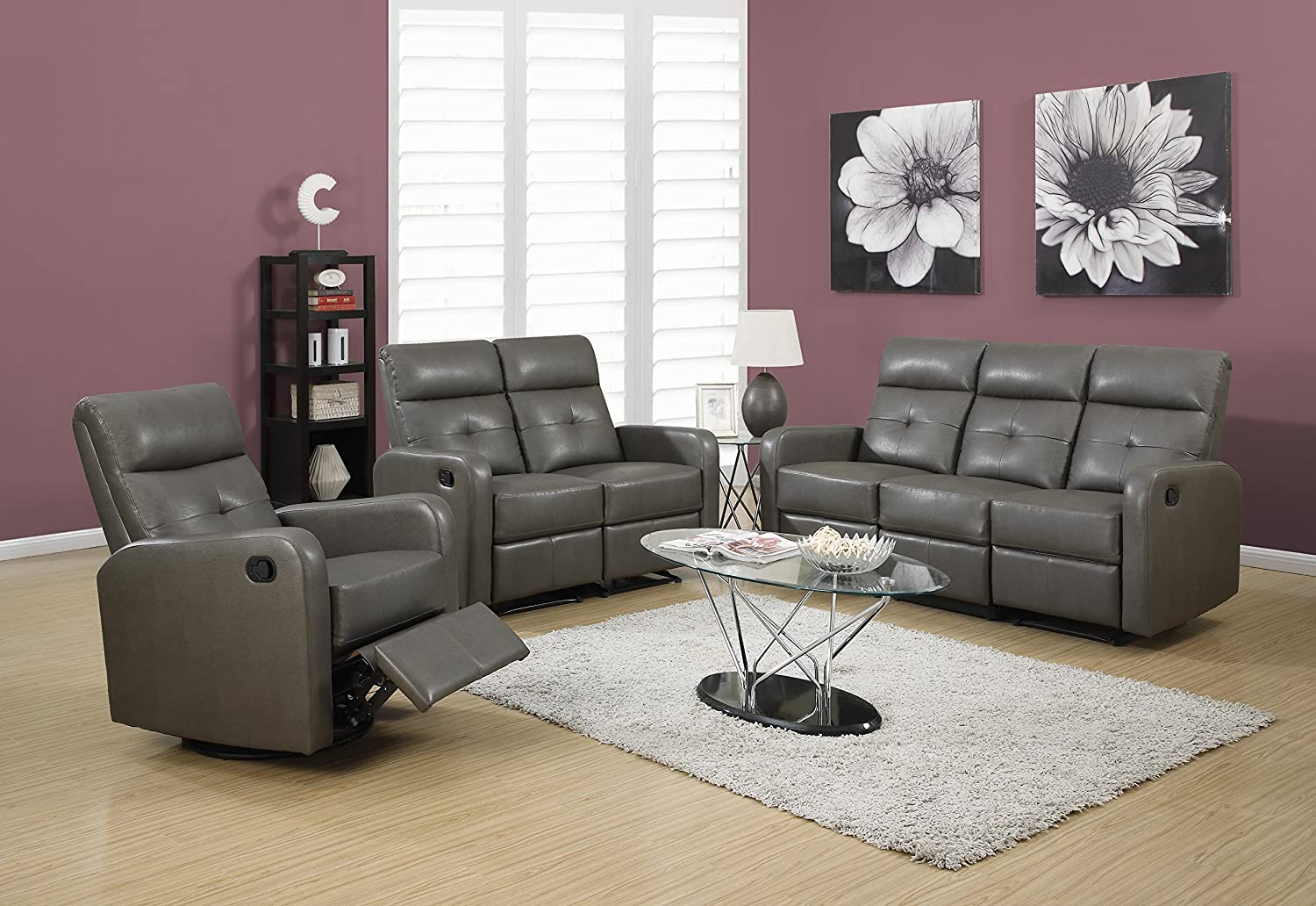 Amazoncom Monarch Specialties I WH Reclining Sofa In White - Recliner leather sofa