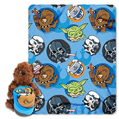 "Disney Star Wars, ""Chewie"" Character Pillow and Fleece Throw Blanket Set, 40"" x 50"", Multi Color: Home & Kitchen"