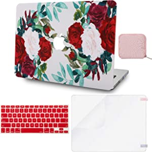 LuvCase 4 in 1 LaptopCase forMacBookAir 13 Inch A1466 / A1369 (No Touch ID)(2010-2017) HardShellCover, Pouch, Keyboard Cover & Screen Protector(Flower 25)