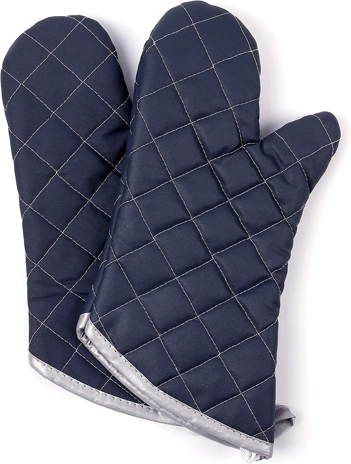 Oven Mitts 1 Pair of Quilted Cotton Lining - Heat Resistant to 425°F Kitchen Gloves,Flame Oven Mitt Set (Black, Cotton)