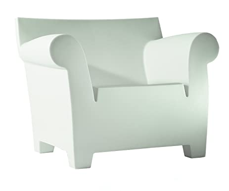 Delightful Kartell Bubble Club Armchair By Philippe Starck, Pack Of 1, Matte Zinc White