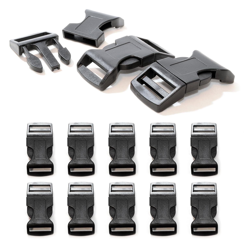 """10er SET 1"""" Klickverschluss / Klippverschluss XL (Steckschließer) aus Kunststoff für Paracord Armbänder, Kordeln etc., 65mm x 32mm, Farbe: Schwarz - Marke Ganzoo #5112sw_10er"""