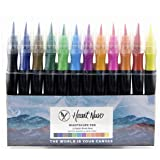 Nightscape Watercolor Brush Marker Pens, Long Nylon Nib, Flexible Tip, Set of 12 Colors