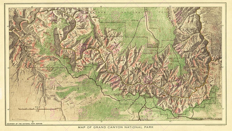 Kunst MAP 1926 USGS GRAND CANYON NATIONAL PARK COLORADO USA REPLICA ...