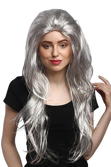 WIG ME UP ® - 91125-ZA62-ZA63-ZA103 Parrucca Donna Carnevale Halloween  Grigio Liscia Cotonata Volume Strega Anziana Nonna Molto Lunga 70 cm   Amazon.it  ... cf96f24e3c3d