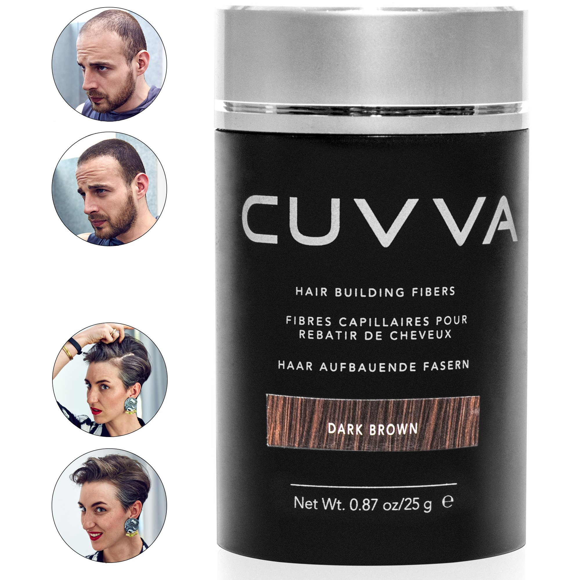 CUVVA Hair Fibers - Hair Loss Concealer for Thinning Hair - Keratin Hair Building Fiber for Men & Women - Regaine Confidence - 0.87oz - Dark Brown by Cuvva