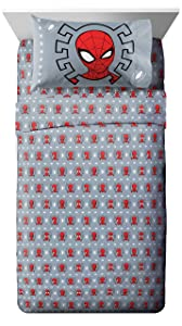 Jay Franco Marvel Spiderman Webbed Wonder 3 Piece Twin Sheet Set - Super Soft and Cozy Kid's Bedding - Fade Resistant Polyester Microfiber Sheets (Official Marvel Product)