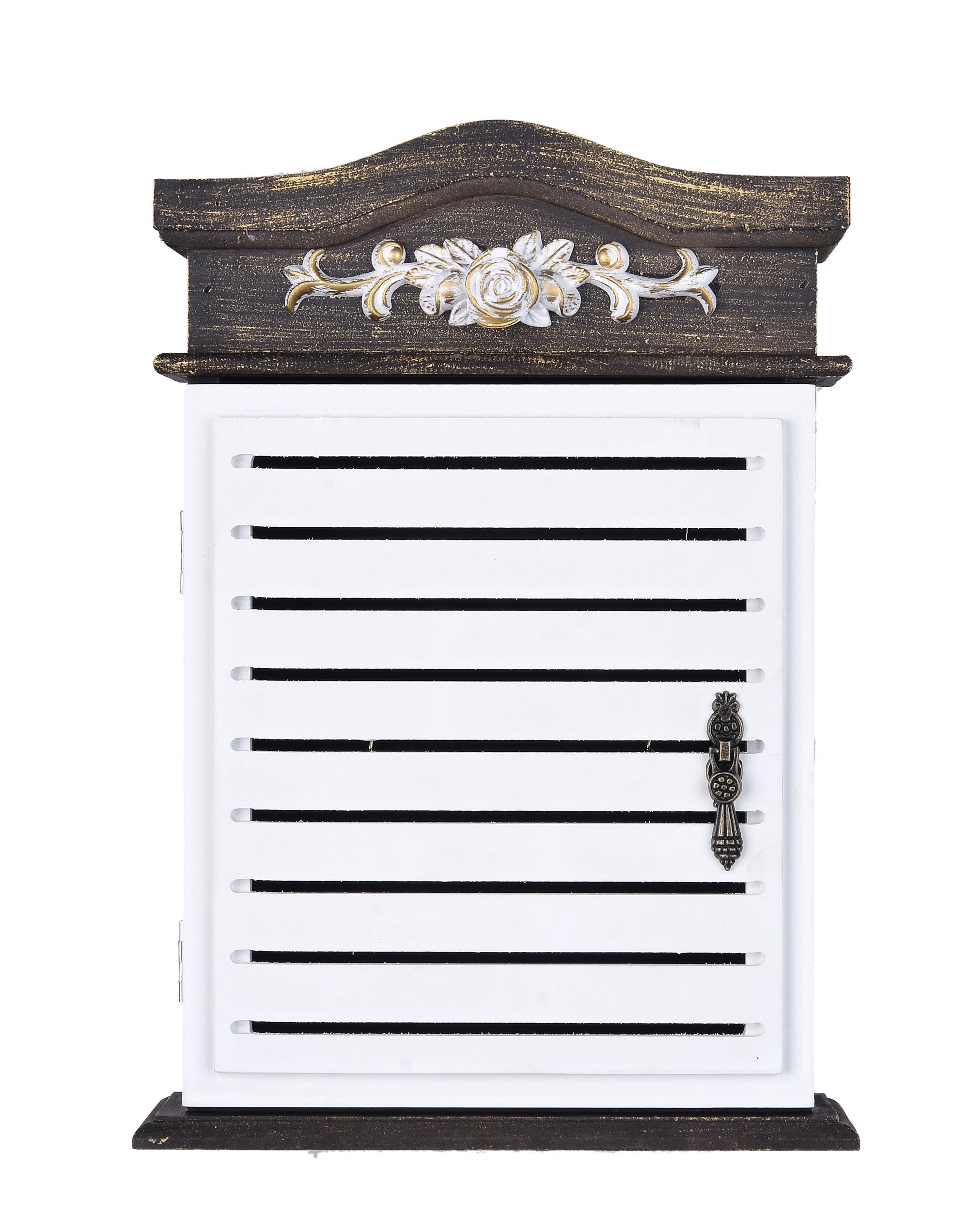 Wooden Key Holder Box 6 Hooks Wall Mounted Handmade with Rustic Finish Home Décor