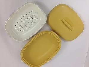 Tupperware Oval Micro-steamer 1 1/2qt 3pc Gold W/white Strainer