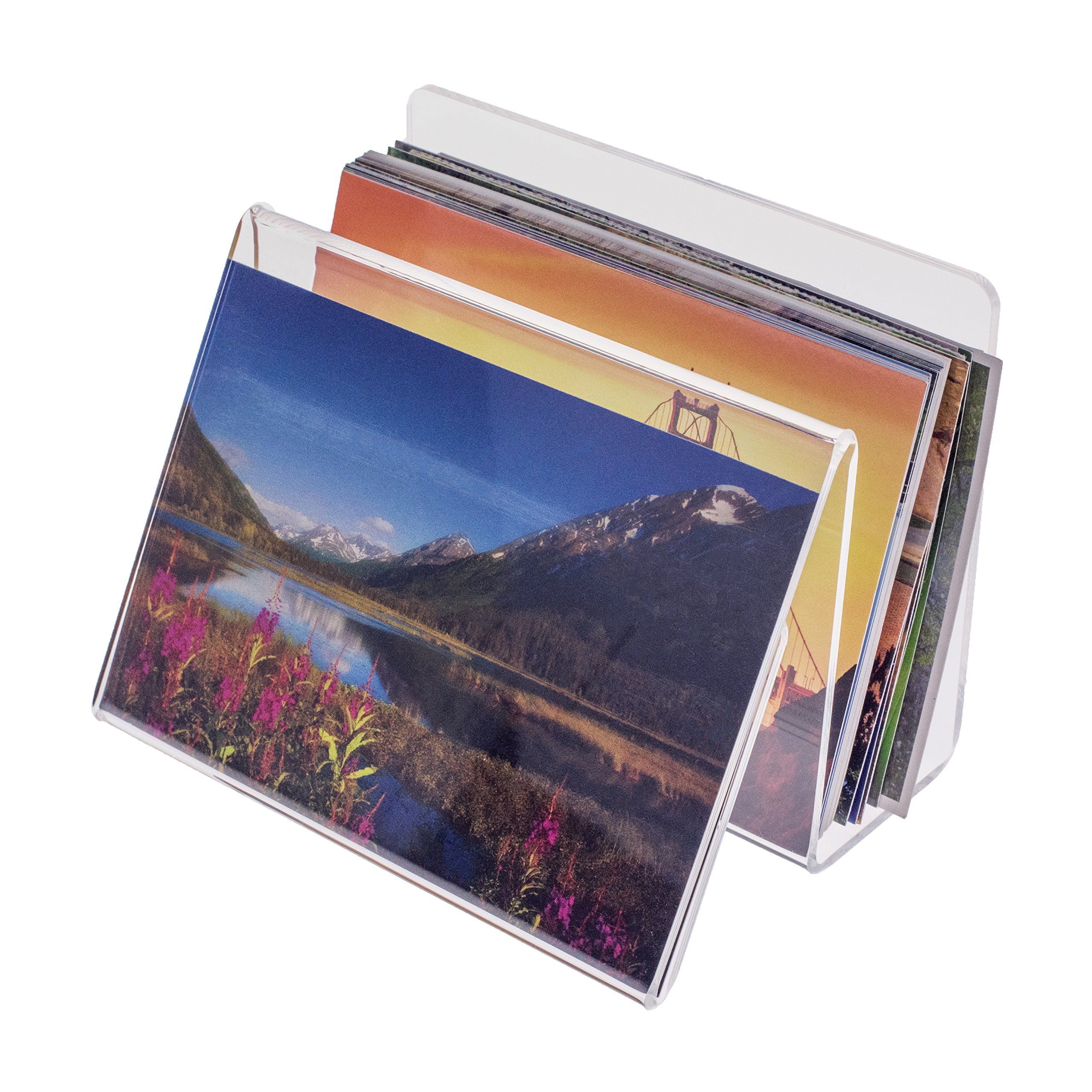 Source One Deluxe Clear Acrylic Desk Organizer with Picture or Postcard Display