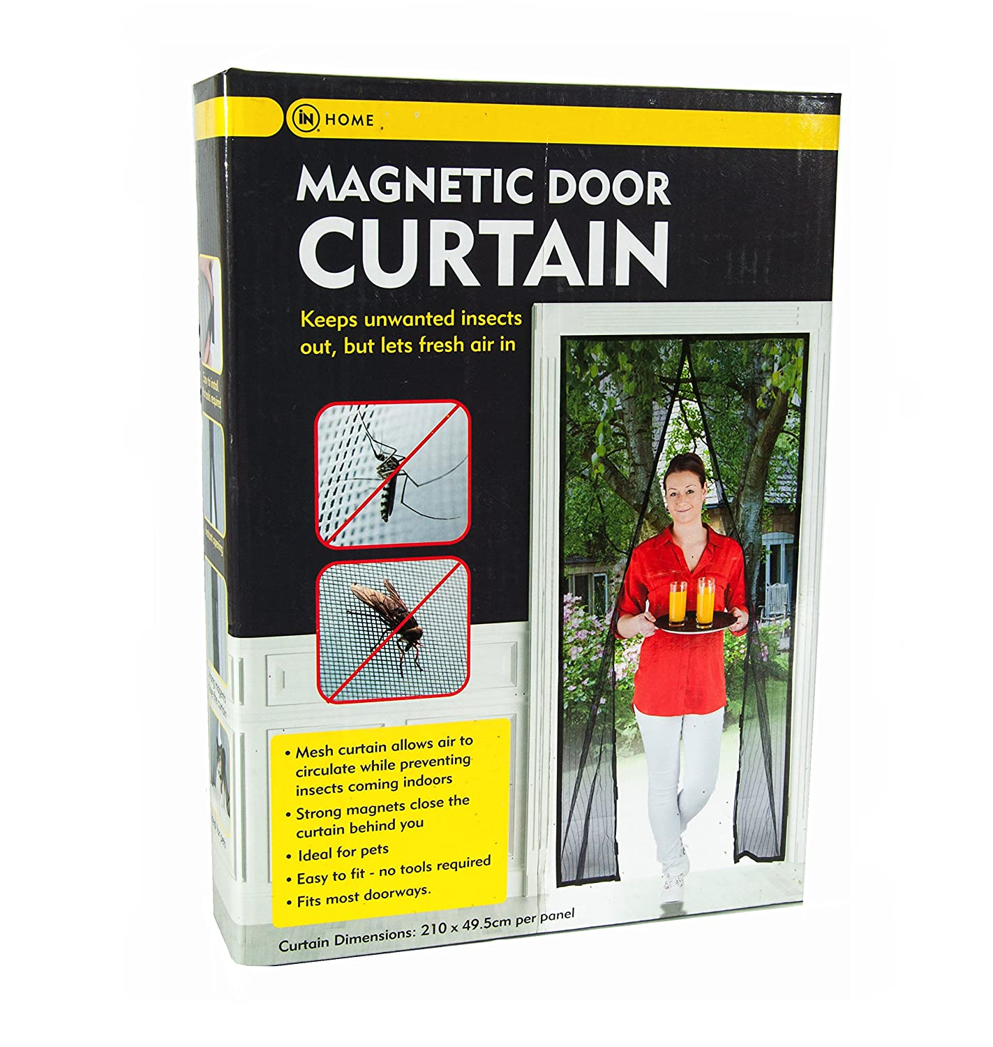 Magnetic Door Curtain Screen to Keep Flies and Insects Out, Keeps Pets Out and In - Strong Magnet Mesh Curtain Allows Air to Circulate While Keeping bugs Out - 210cm Drop x 49.5cm Across Per Panel InHome
