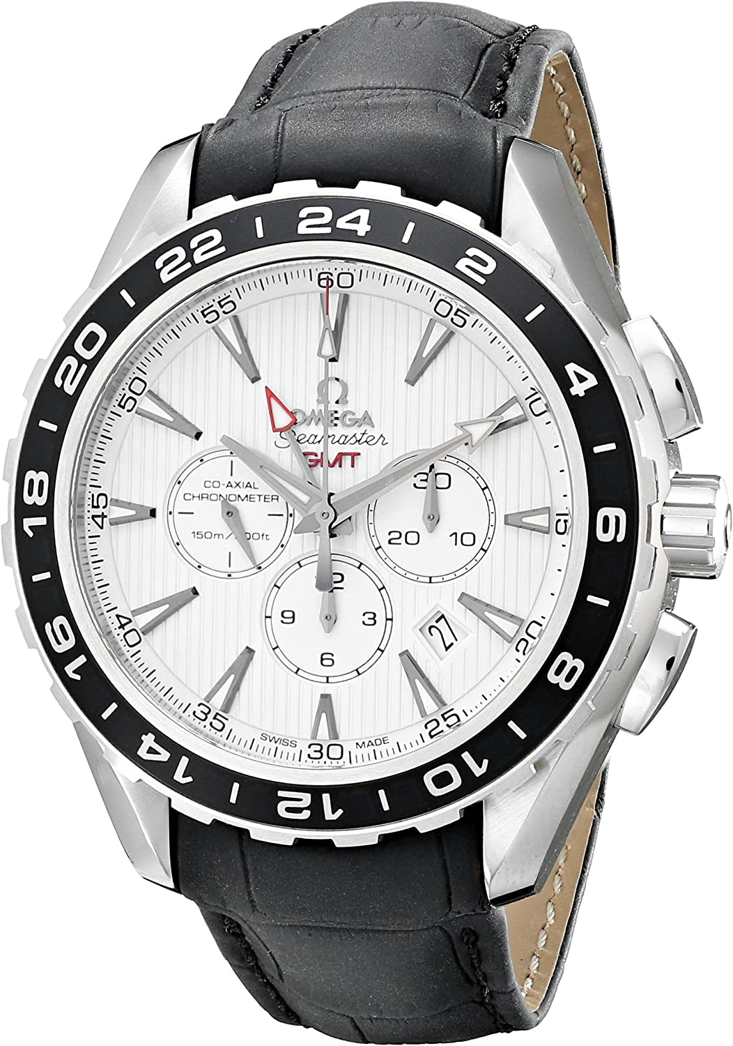 Omega Men s 231.13.44.52.04.001 Aqua Terra Automatic Stainless Steel Watch with Black Leather Band