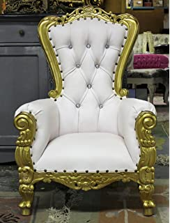 Tiffany Mahogany Baby Party Throne For Kids Pets Photo Props White With  Gold Leaf Finish 37