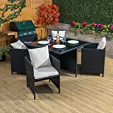 Toulon Rattan Cube Garden Dining Set - 4 Seater Outdoor Conservatory Furniture with Cushions