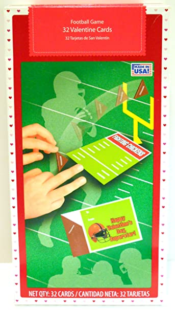 box of 32 football game valentine cards 8 different designs happy valentines day superstar