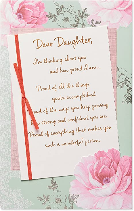 Amazon.com: Floral rosa Tarjeta de cumpleaños para hija con ...