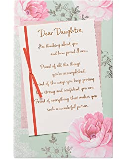 American Greetings Pink Floral Birthday Card For Daughter With Foil