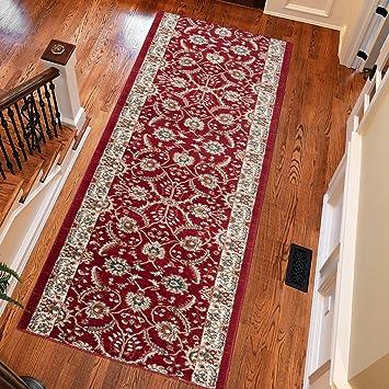 Amazon De Traditionelle Hall Laufer Schone Weiche Teppich Rot