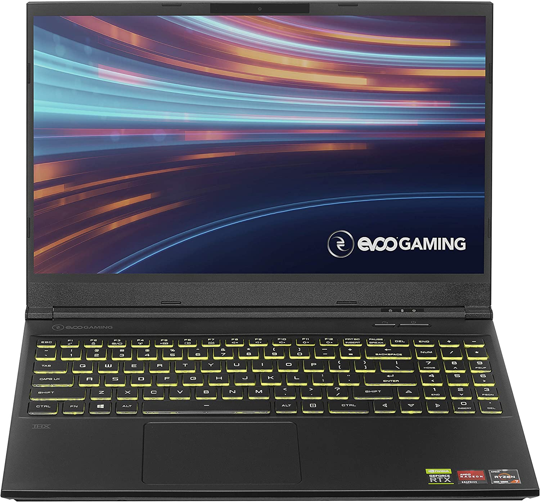 "EVOO Gaming 15.6"" Laptop, FHD, 144Hz, AMD Ryzen 7 4800H Processor, NVIDIA GeForce RTX 2060, THX Spatial Audio, 512GB SSD, 16GB RAM, RGB Backlit Keyboard, HD Camera, Windows 10 Home, Black"