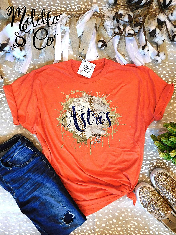 on sale a3fa4 fd5f7 Amazon.com: Orange Astros Shirt Astros T-shirt Baseball Tee ...