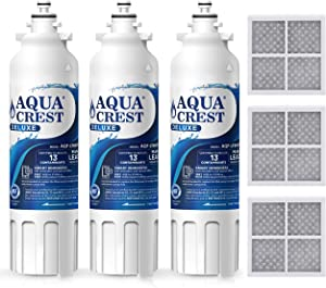 AQUACREST NSF 401, 53&42 ADQ73613401 Refrigerator Water Filter and Air Filter, Compatible with LG LT800P, ADQ73613402, Kenmore 9490, 46-9490 and LT120F (Pack of 3)