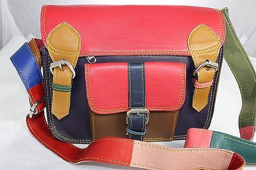 Gringo Fair Trade Womens Multicoloured Leather Handbags Satchel Cross Body