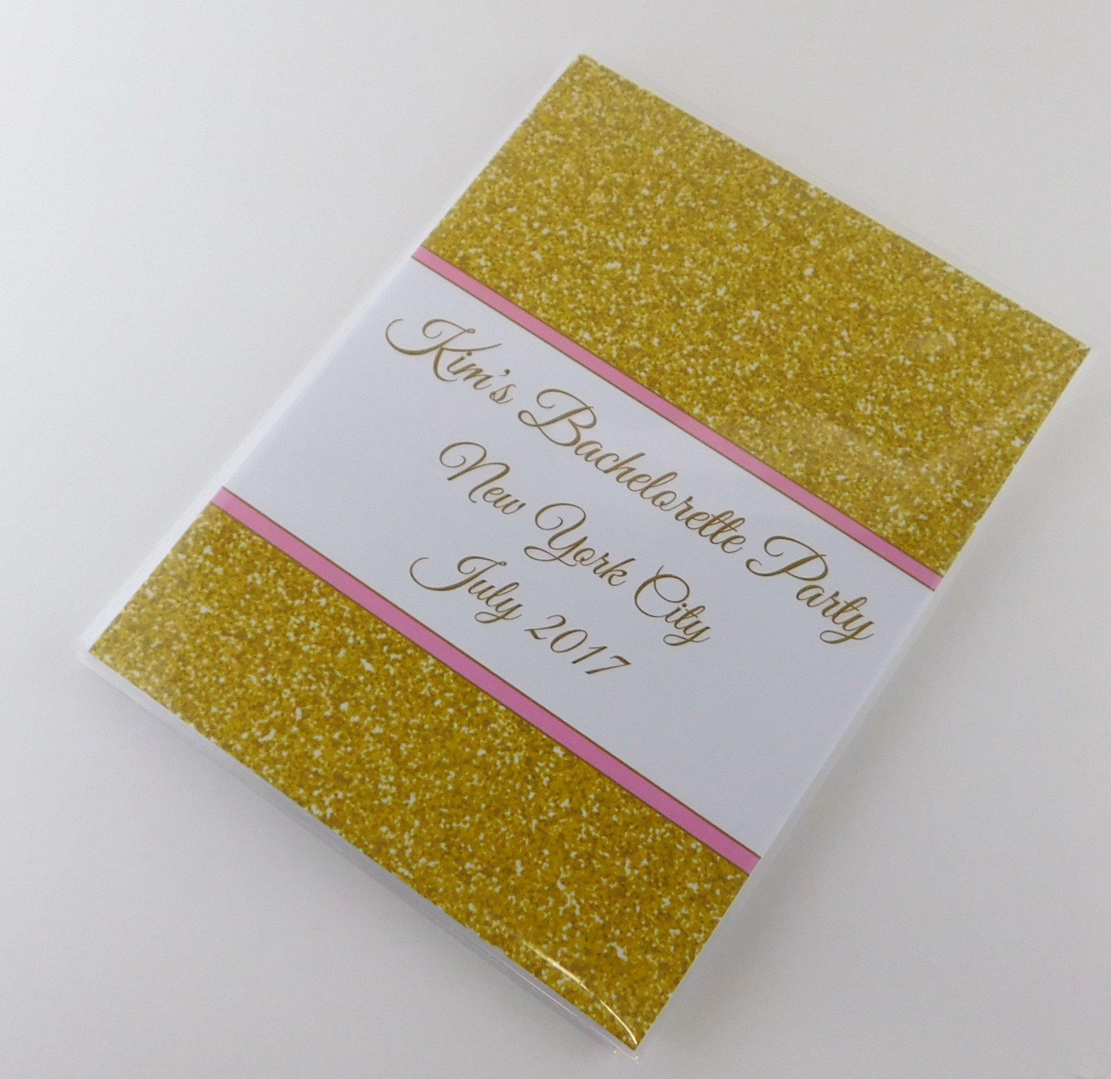 Gold Glitter Bachelorette Photo Album IA#728 Wedding Photo Album Bridal Shower Bridesmaid Party Engagement PRINTED Vinyl Plastic Photo Album