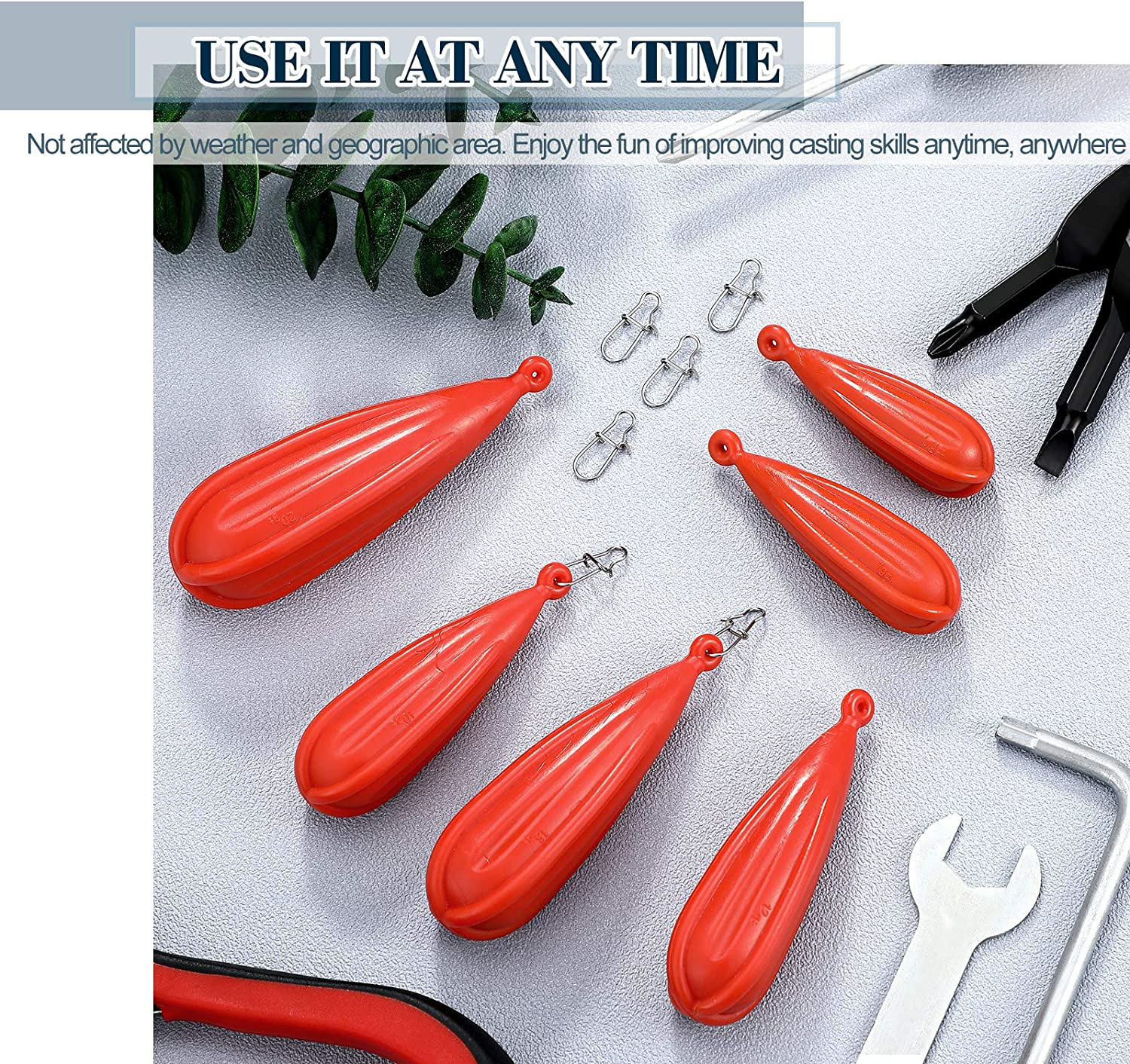 6 Sizes 12 Pieces Fishing Practice Plug Fishing Casting Plug Baitcasting Rubber Practice Plug Suitable for Kids Improving Casting Skill